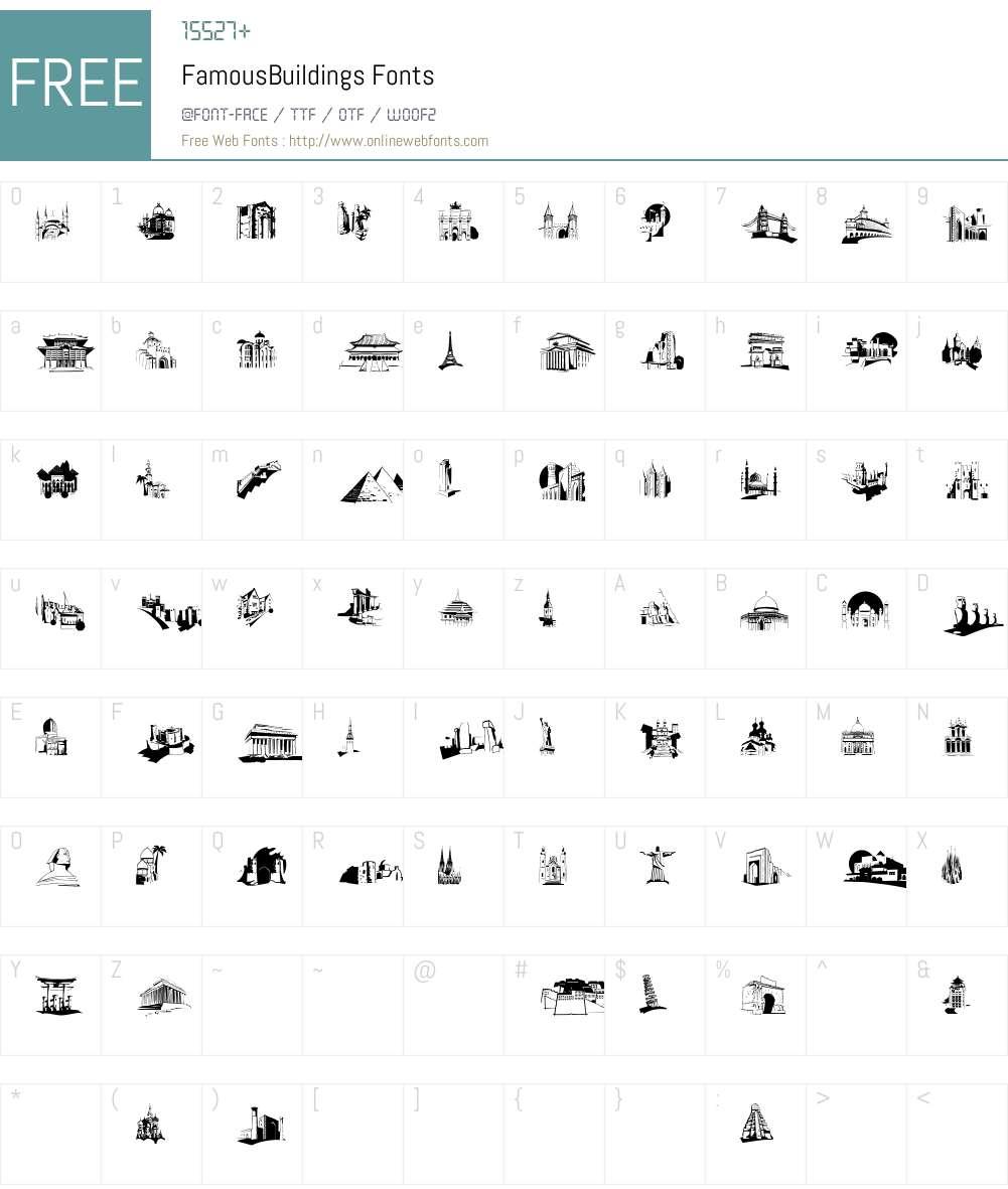FamousBuildings Font Screenshots