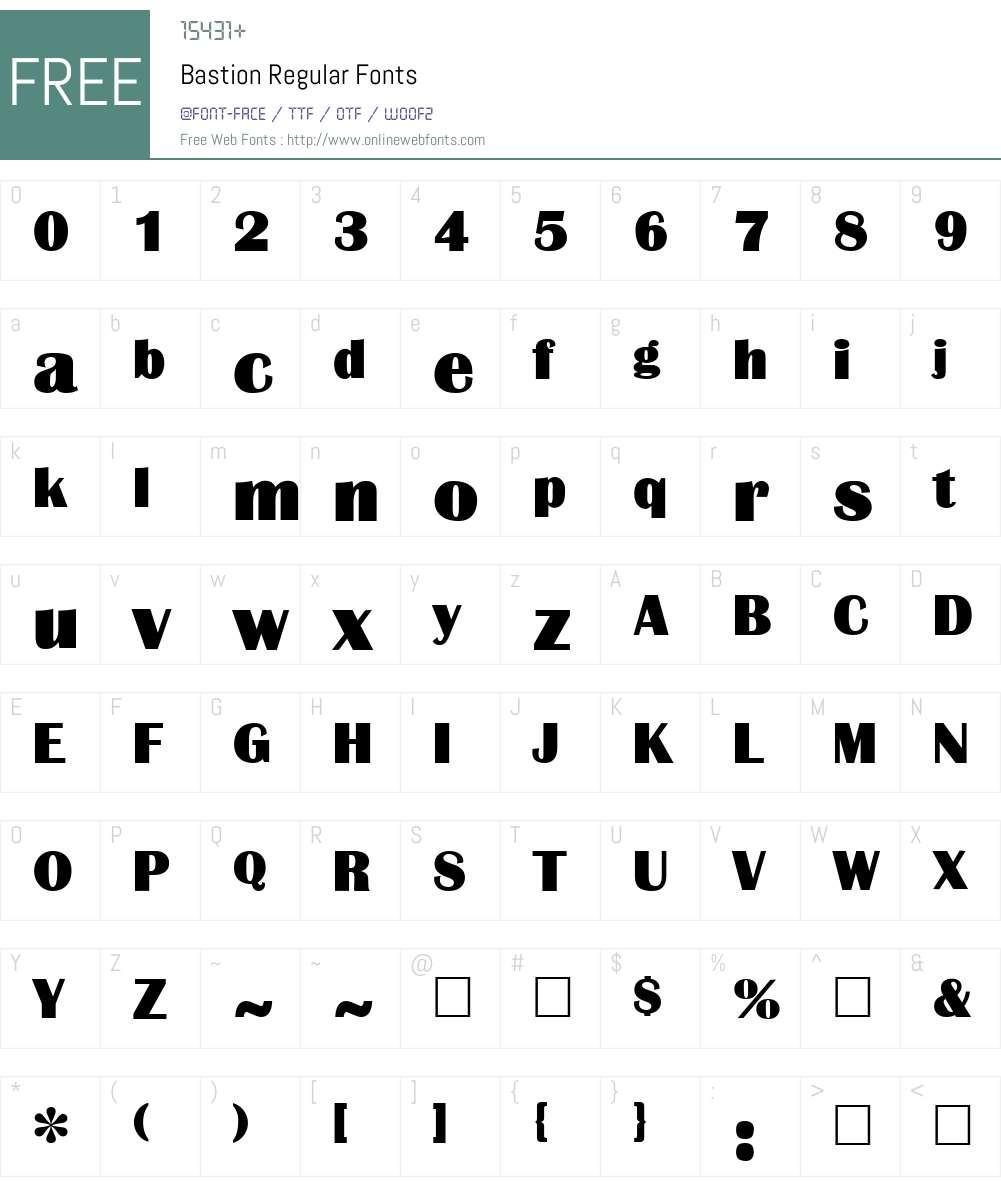 Bastion Font Screenshots