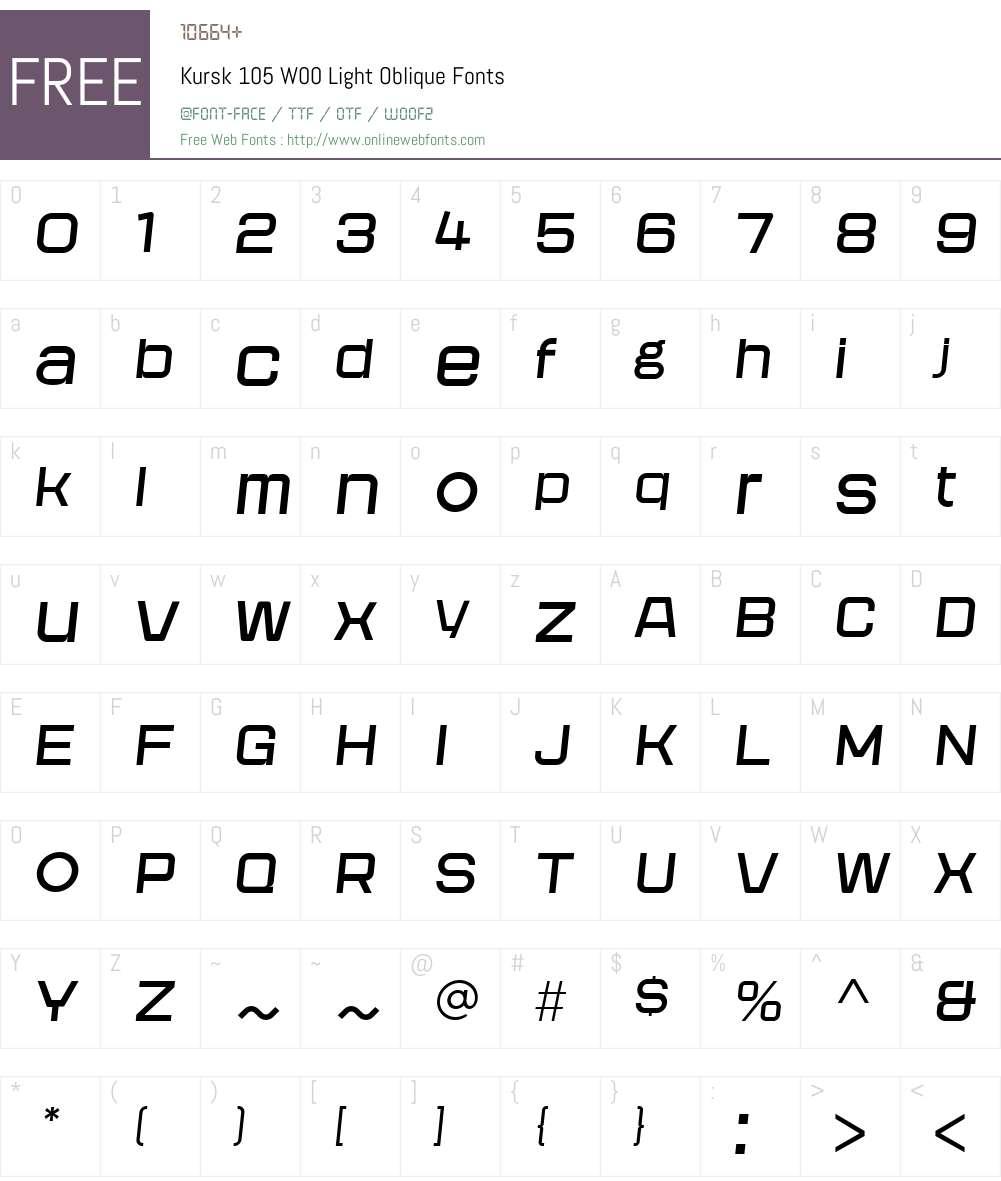 Kursk105W00-LightOblique Font Screenshots