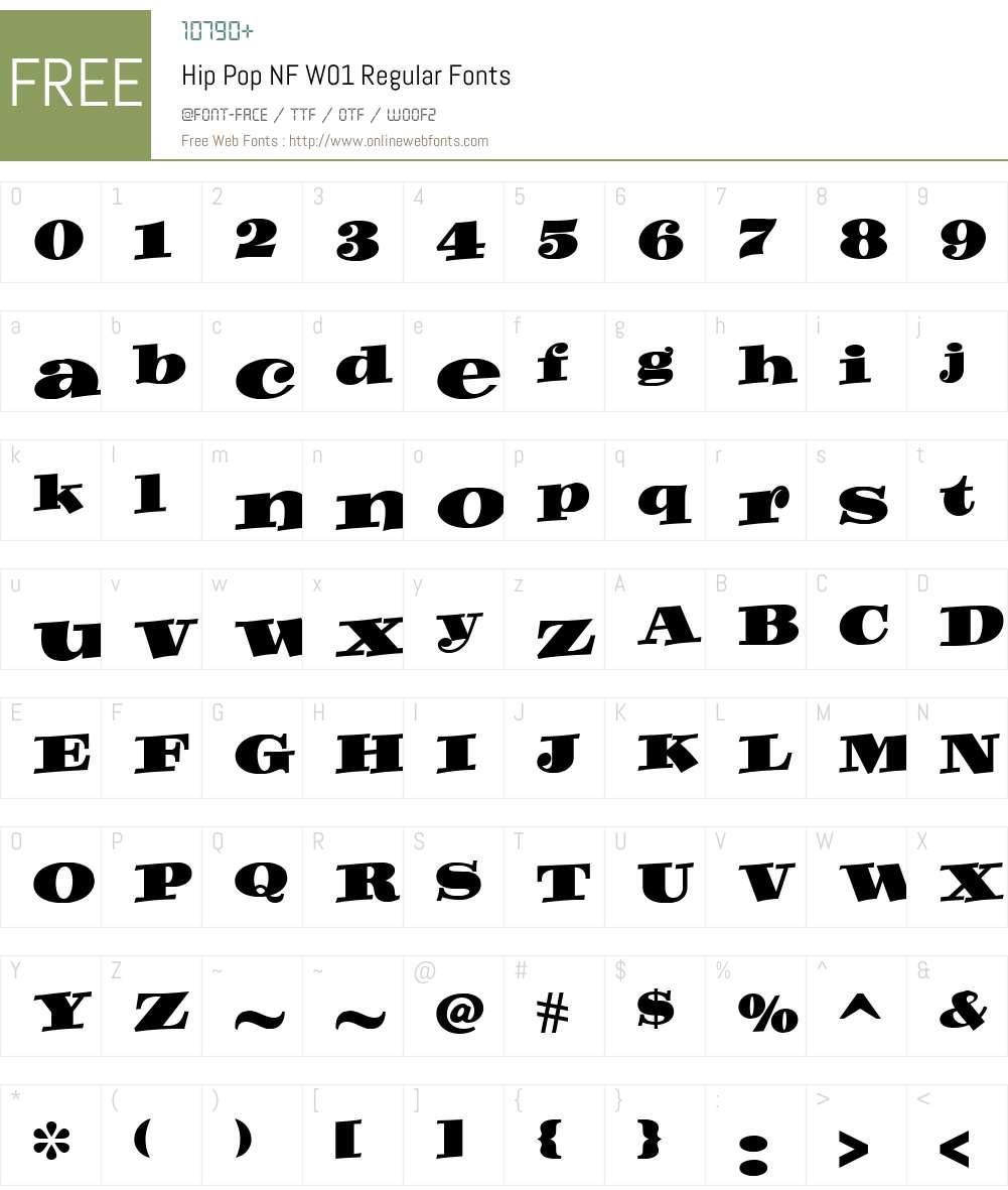 HipPopNFW01-Regular Font Screenshots