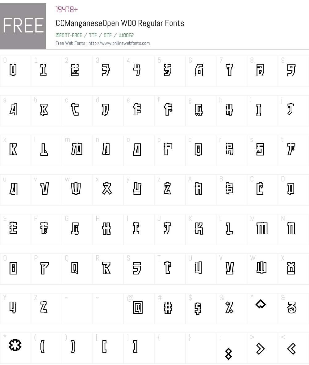 CCManganeseOpenW00-Regular Font Screenshots