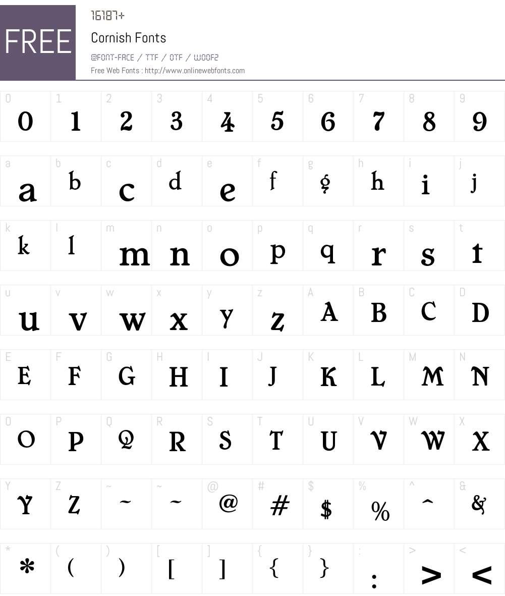 Cornish Font Screenshots
