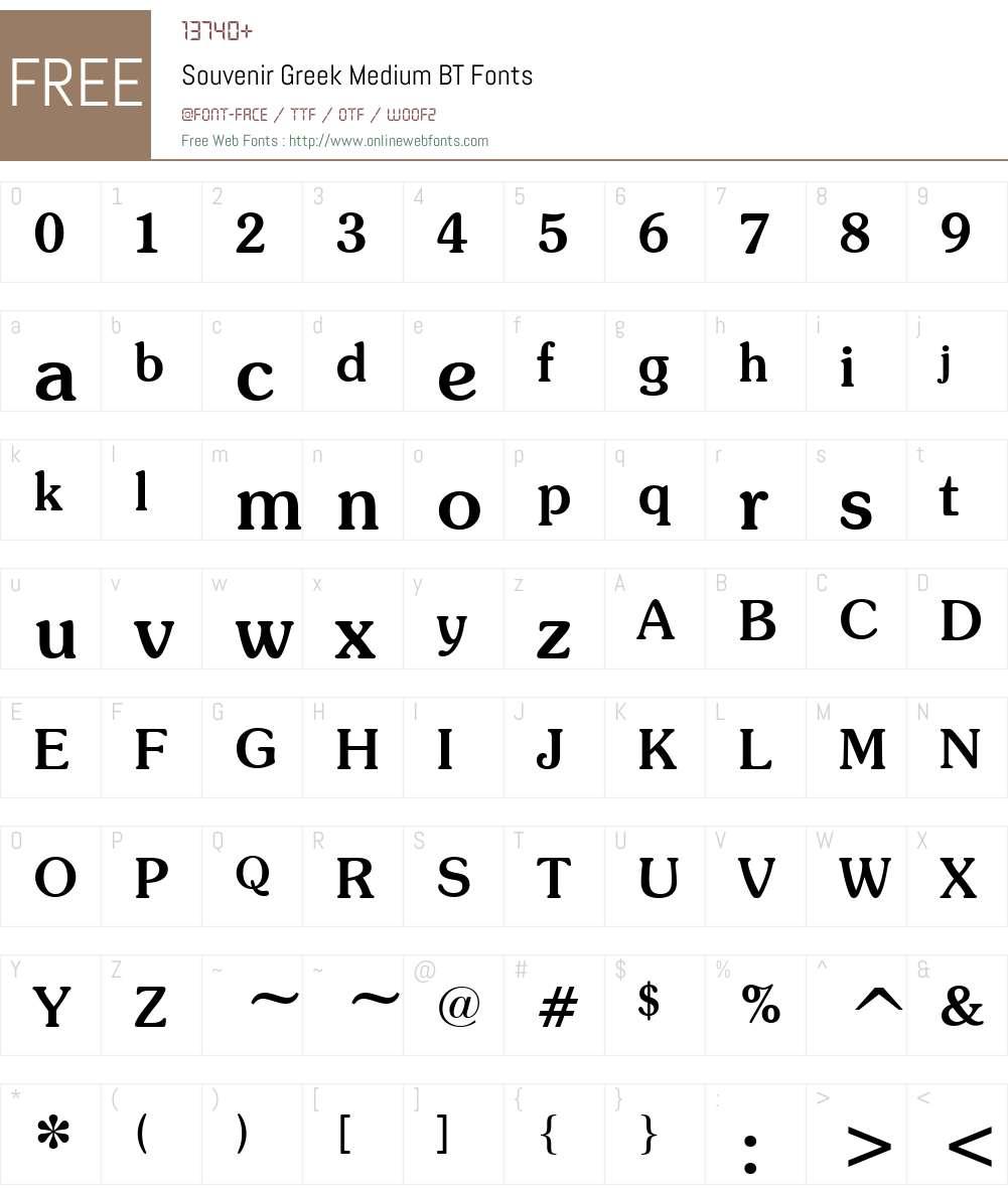 SouvenirGreek Md BT Font Screenshots