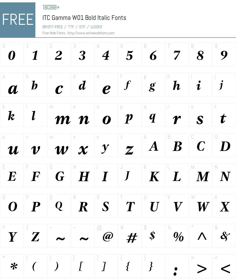 ITCGammaW01-BoldItalic Font Screenshots