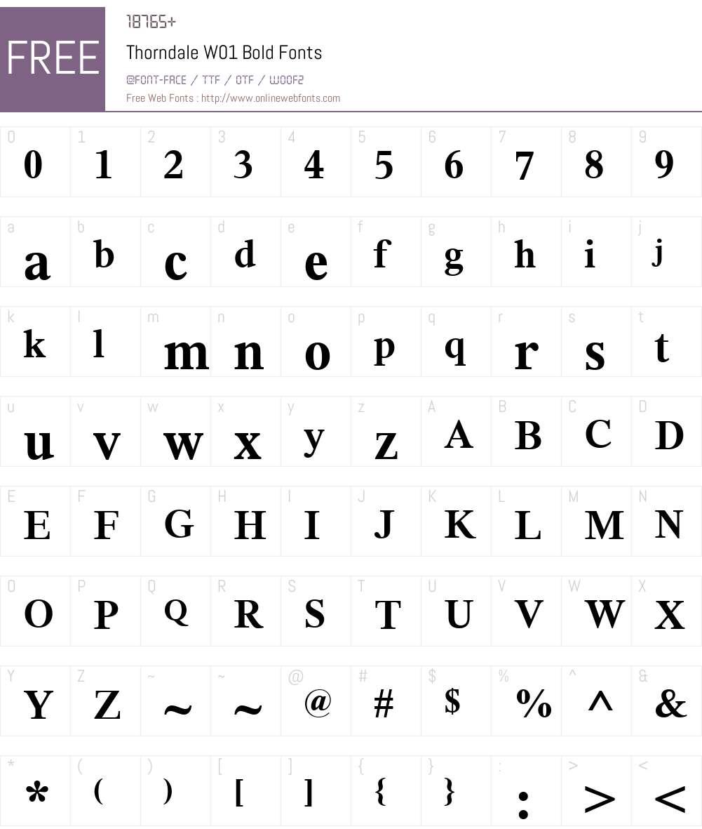 ThorndaleW01-Bold Font Screenshots
