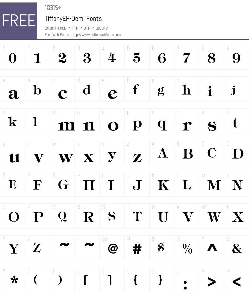 TiffanyEF-Demi Font Screenshots