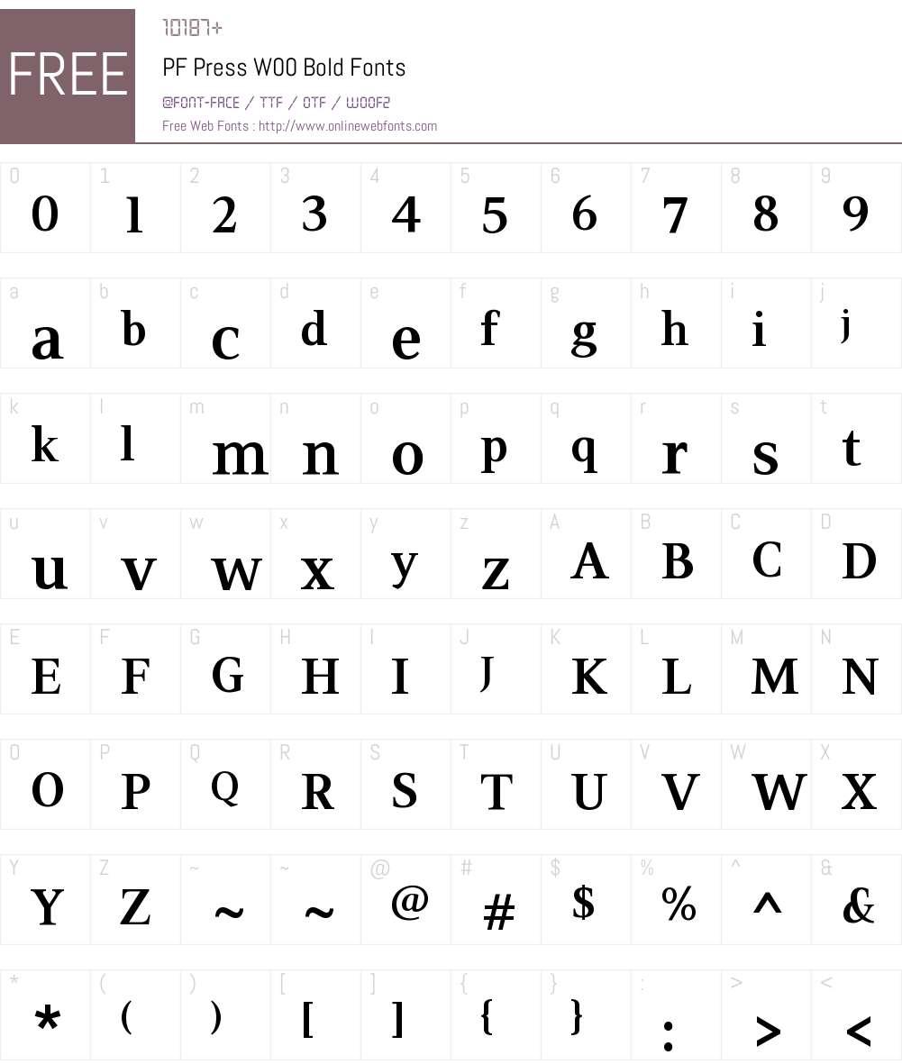 PFPressW00-Bold Font Screenshots