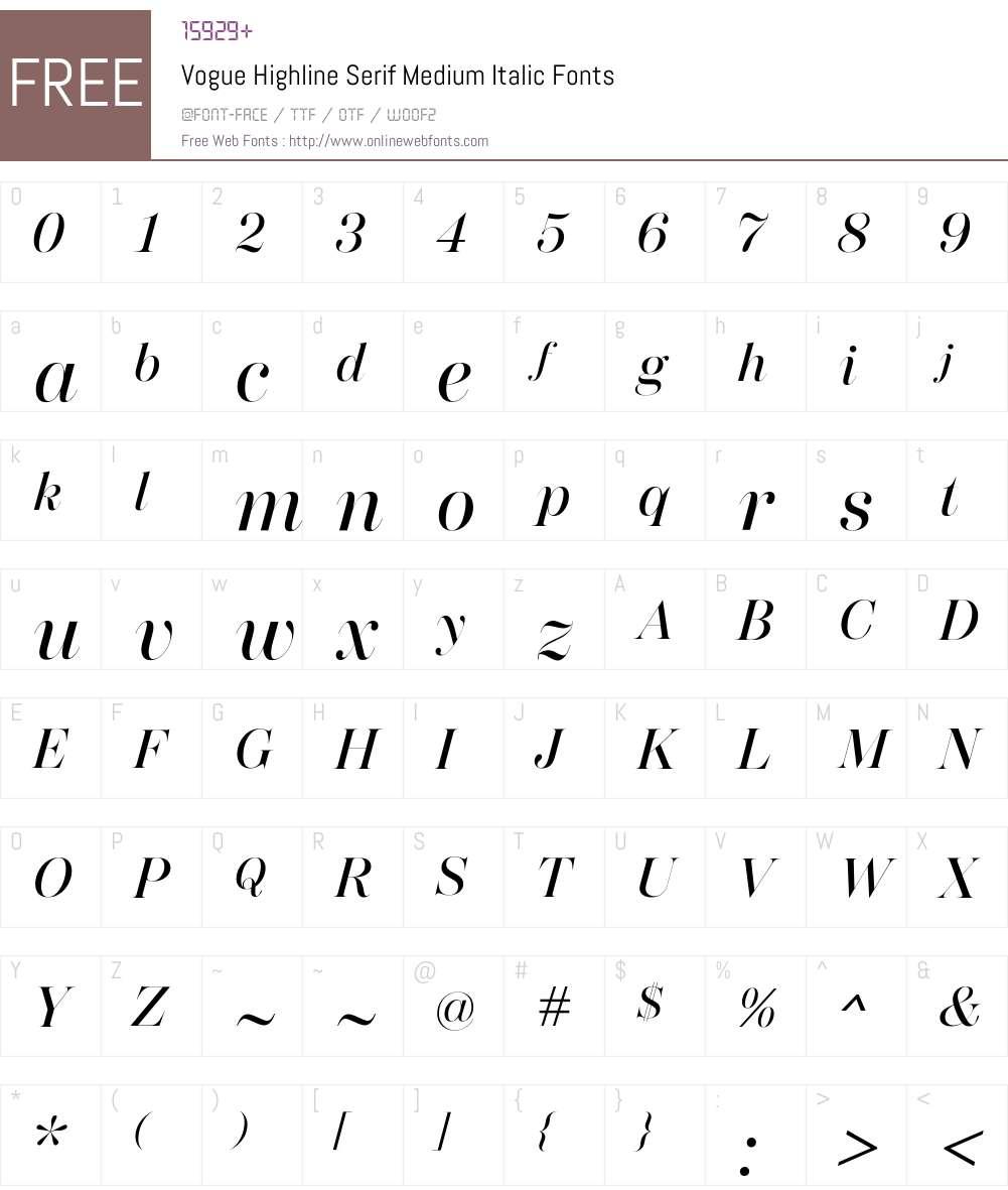 Vogue Highline Serif Medium It Font Screenshots