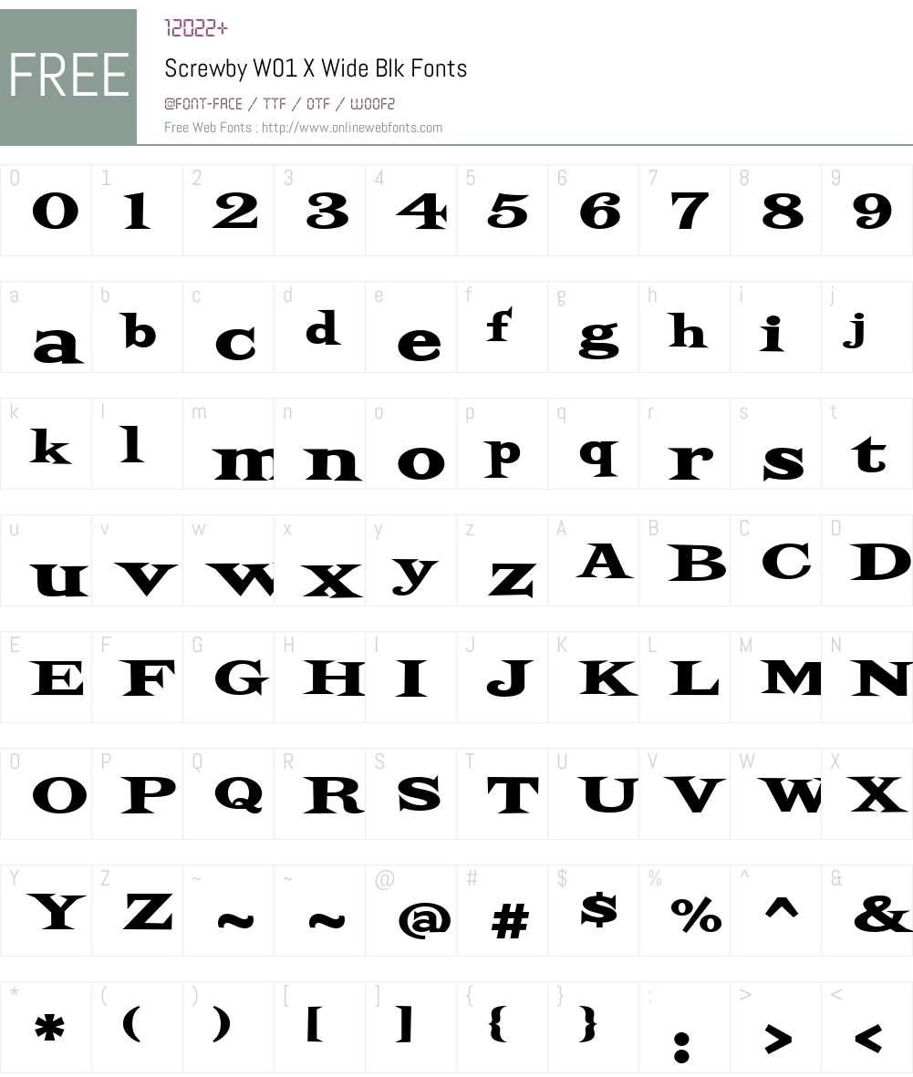 ScrewbyW01-XWideBlk Font Screenshots