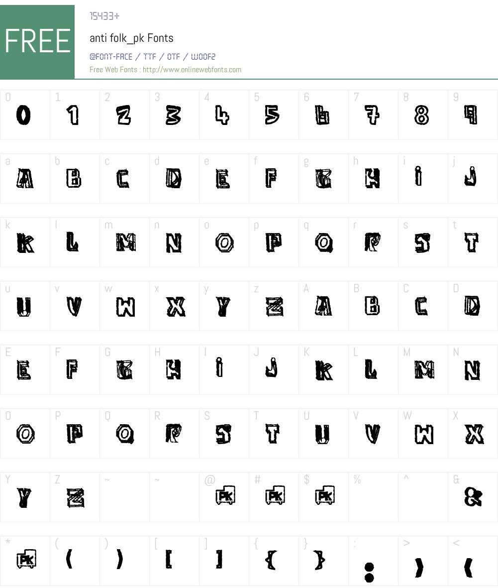 anti folk_pk Font Screenshots
