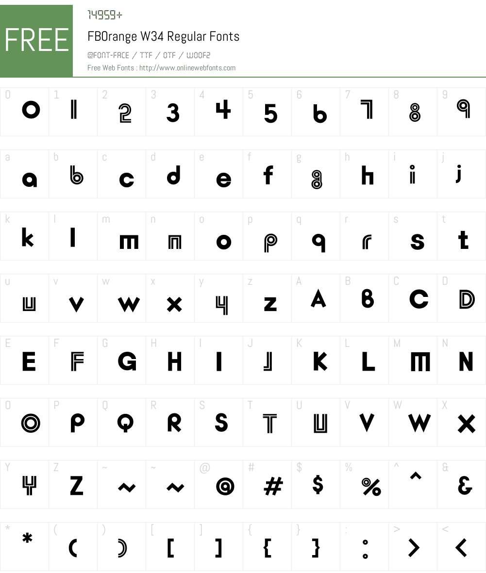 FBOrangeW34-Regular Font Screenshots