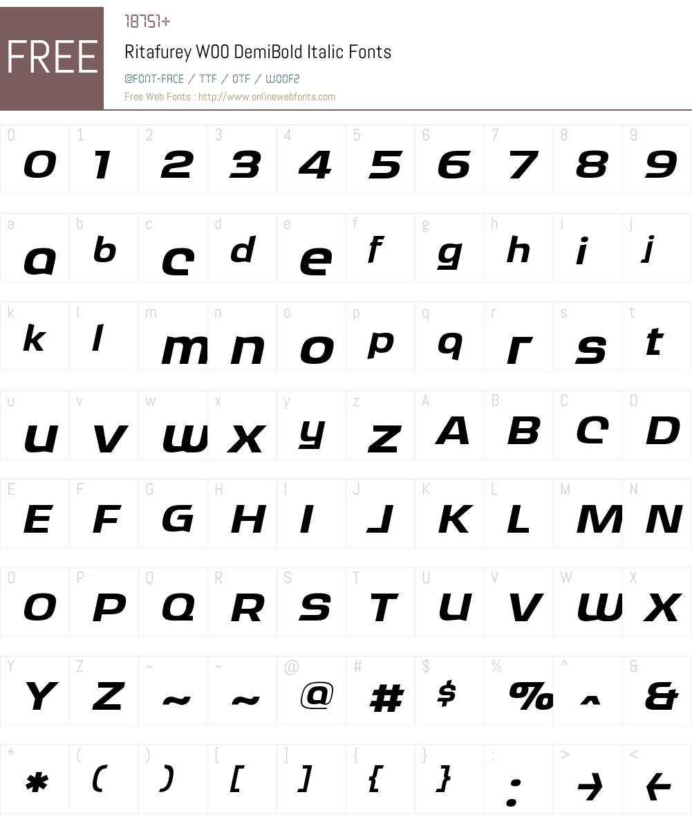 RitafureyW00-DemiBoldItalic Font Screenshots