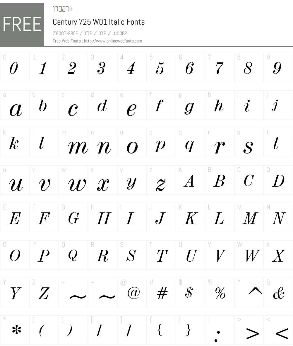 Century725W01-Italic Font Screenshots
