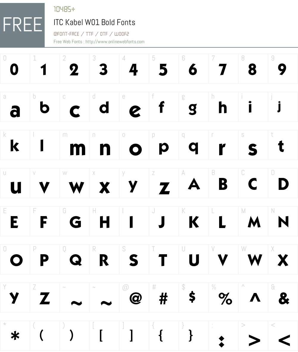 ITCKabelW01-Bold Font Screenshots