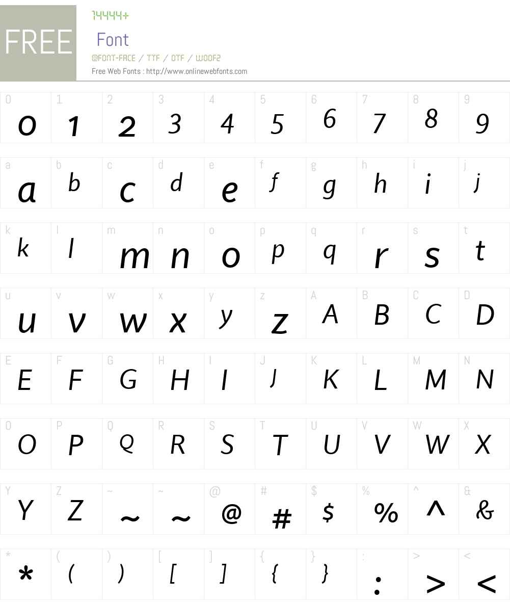 QuireSansW01-Italic Font Screenshots