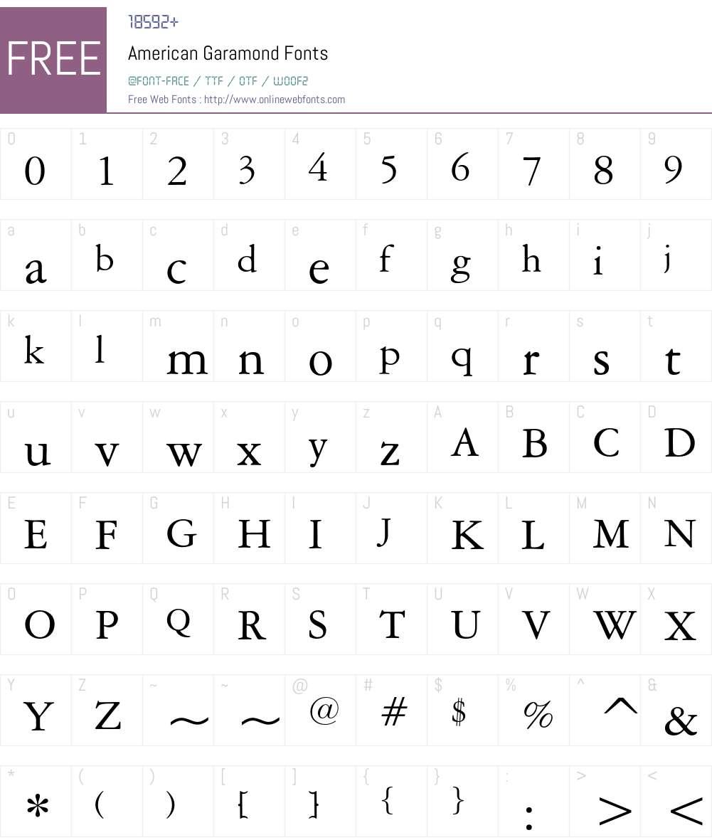 American Garamond Font Screenshots