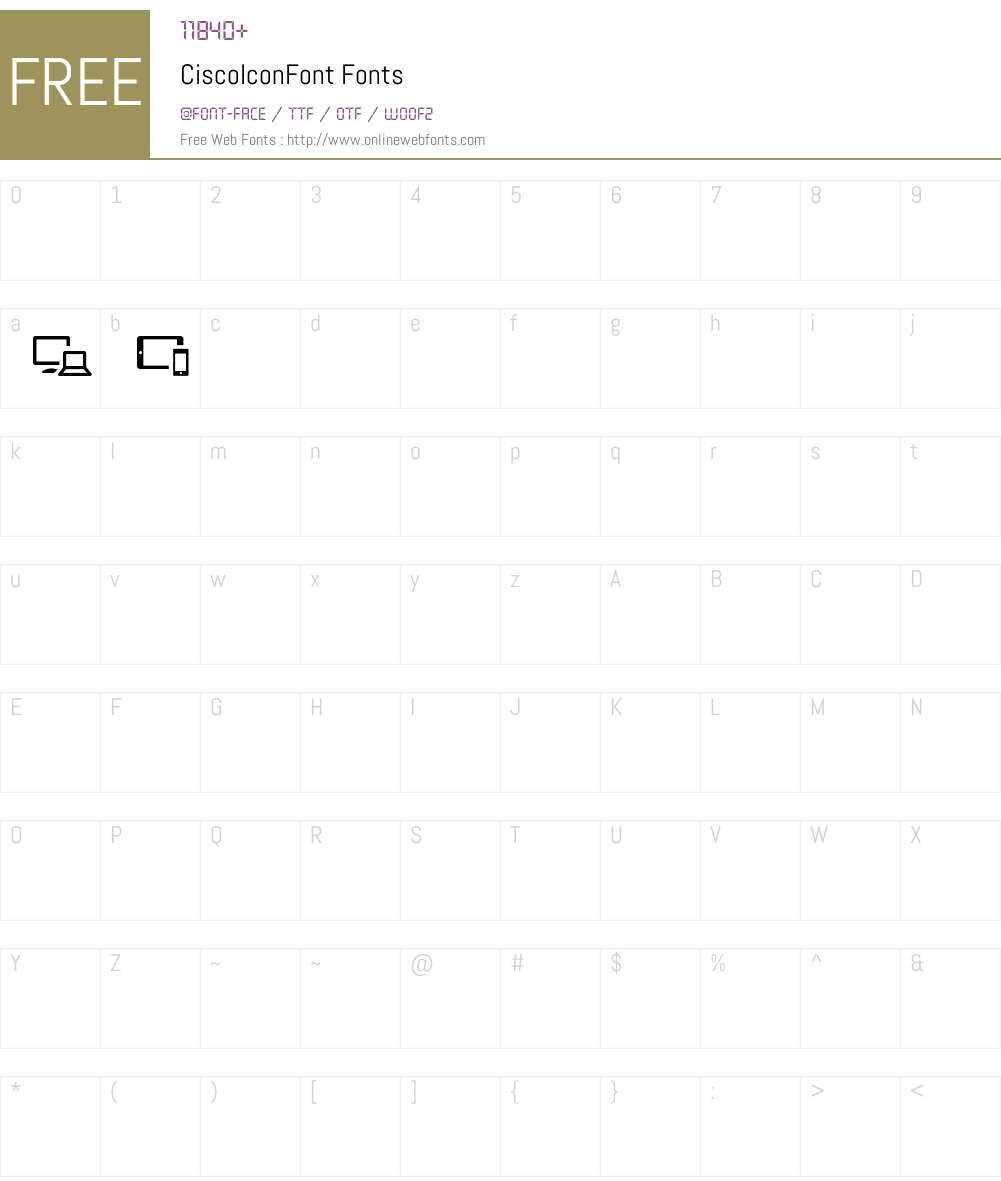 CiscoIconFont Font Screenshots