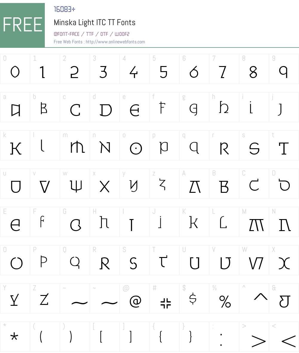 Minska Light ITC TT Font Screenshots