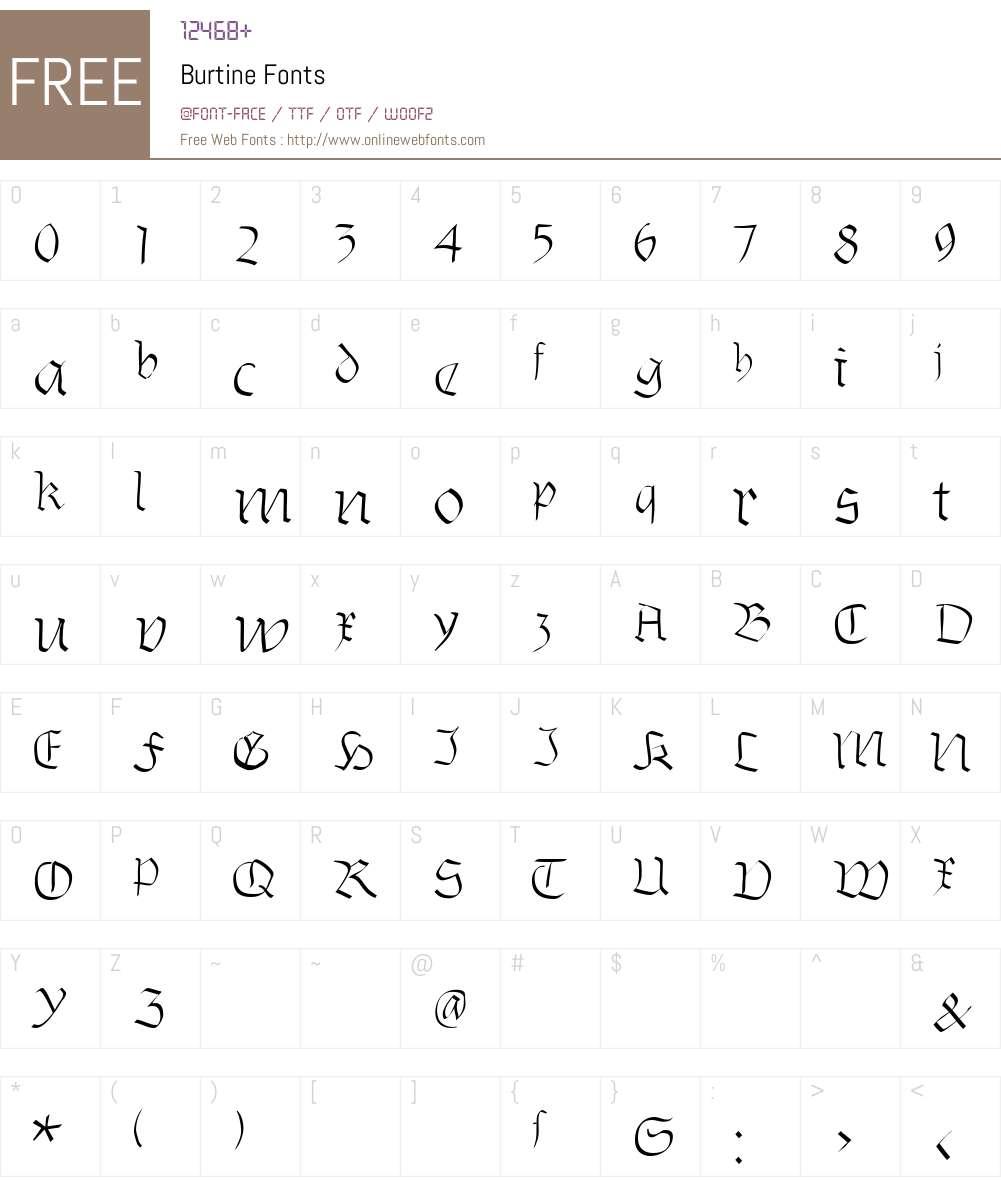Burtine Font Screenshots