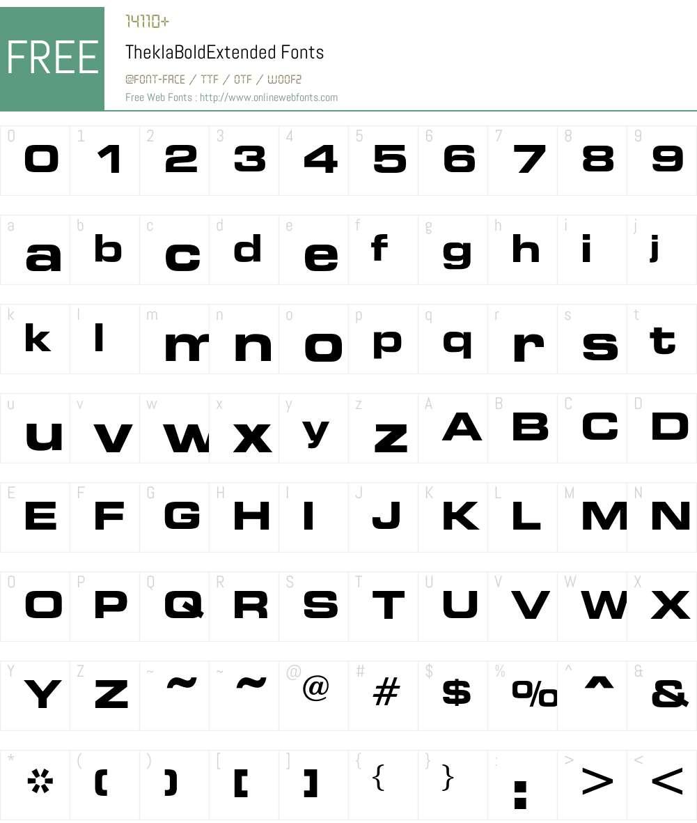 TheklaBoldExtended Font Screenshots