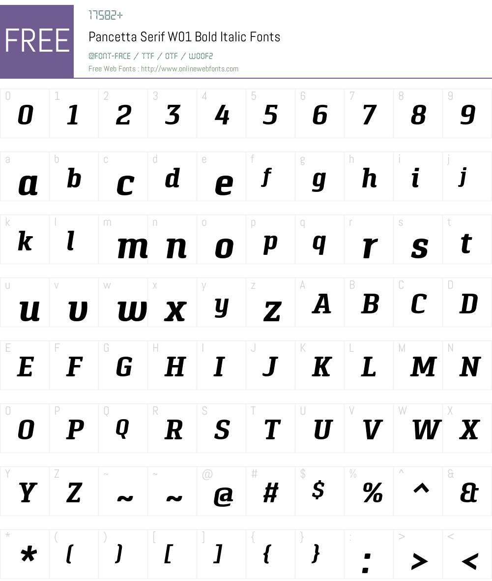 PancettaSerifW01-BoldItalic Font Screenshots