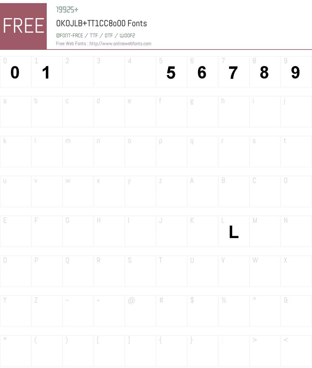 OKOJLB+TT1CC8o00 Font Screenshots