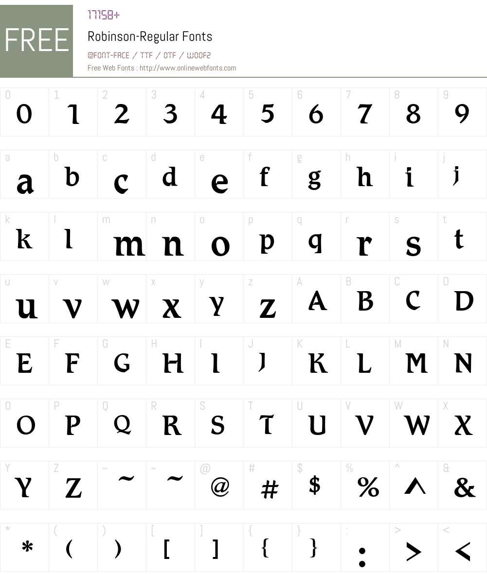 Robinson Font Screenshots