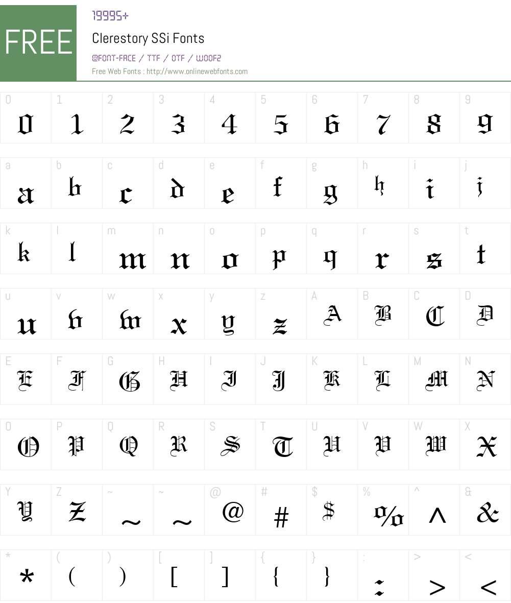Clerestory SSi Font Screenshots