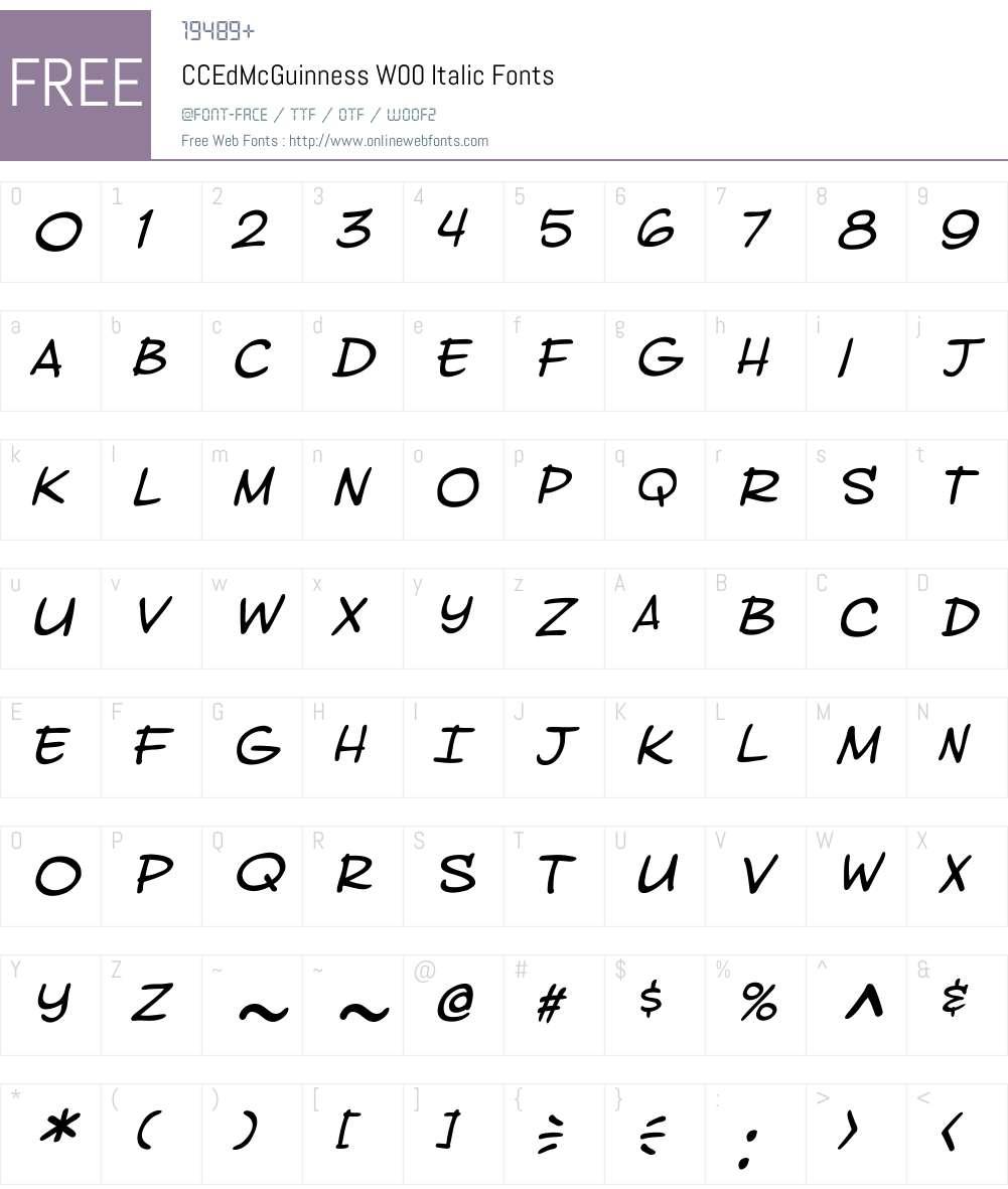 CCEdMcGuinnessW00-Italic Font Screenshots