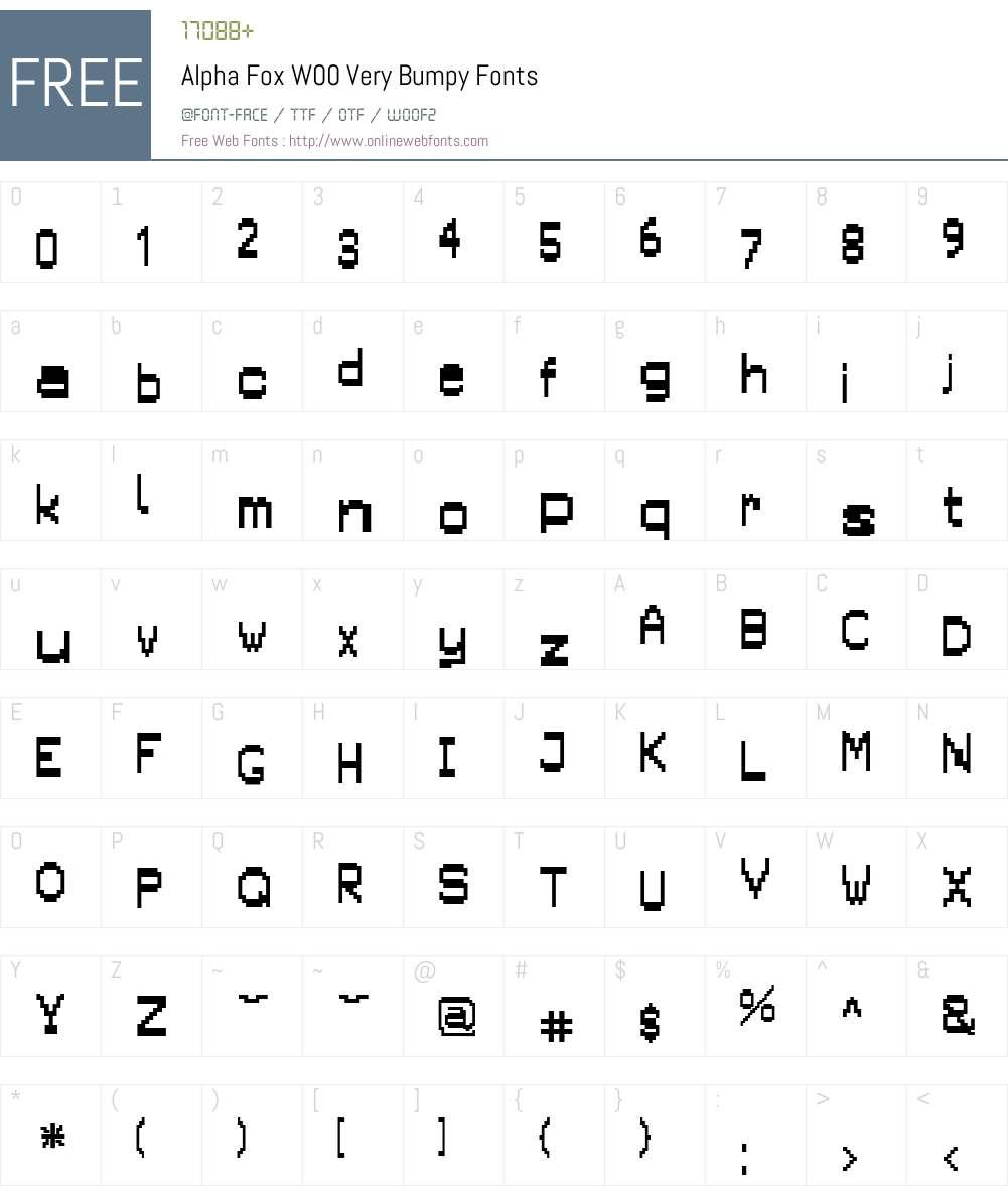 AlphaFoxW00-VeryBumpy Font Screenshots