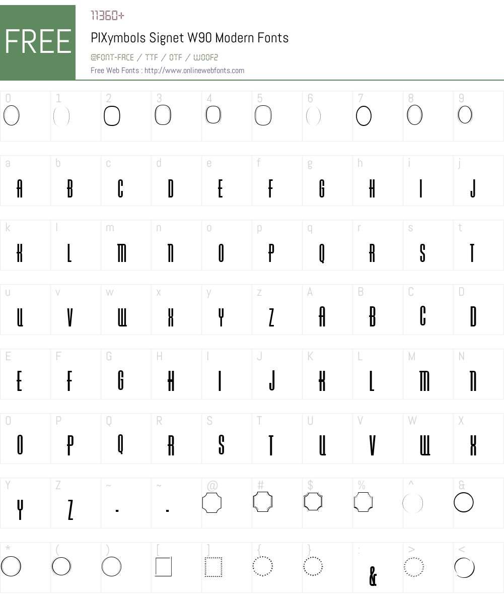 PIXymbolsSignetW90-Modern Font Screenshots