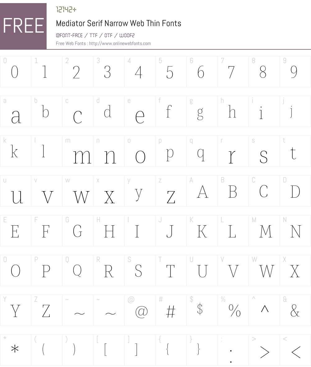 Mediator Serif Narrow Web Thin Font Screenshots