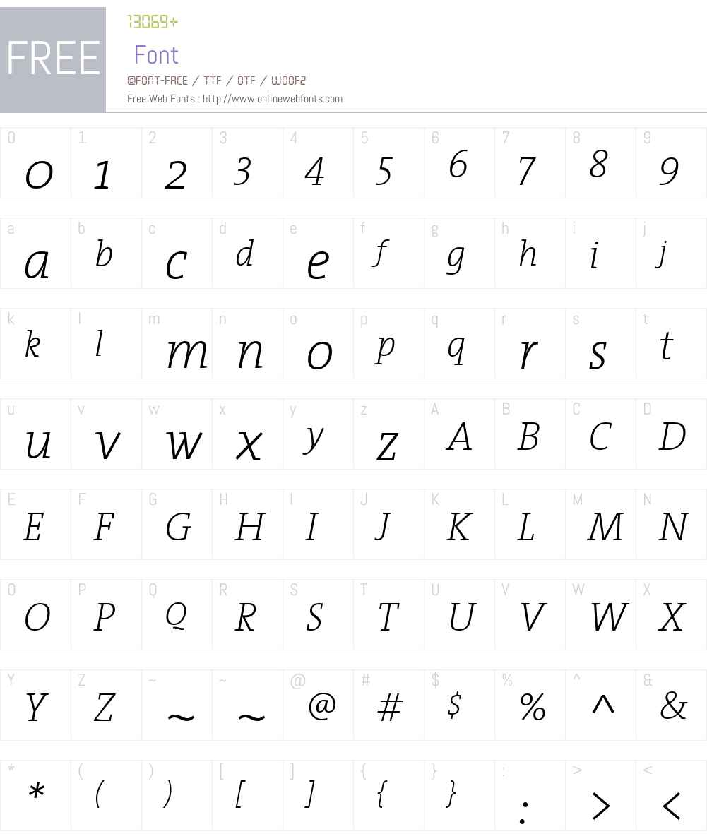 TheSerifExtraLight Font Screenshots