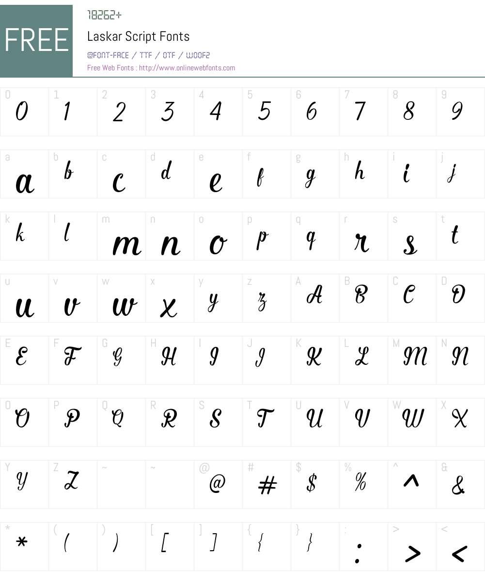 Laskar Script Font Screenshots