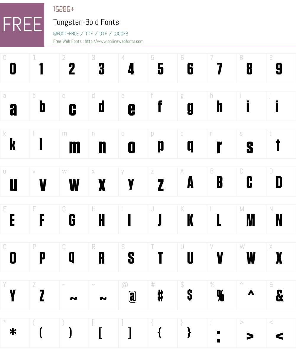 Tungsten Bold Font Screenshots