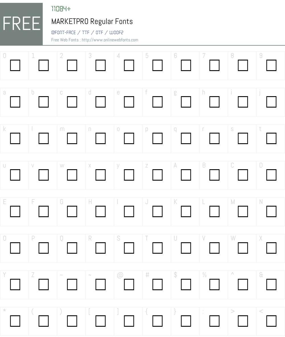 MARKETPRO Font Screenshots