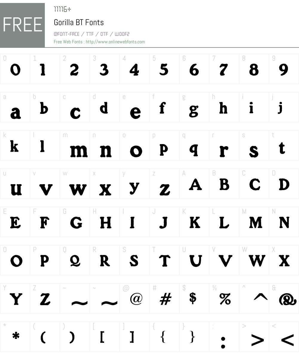 GorillaITCbyBT-Regular Font Screenshots