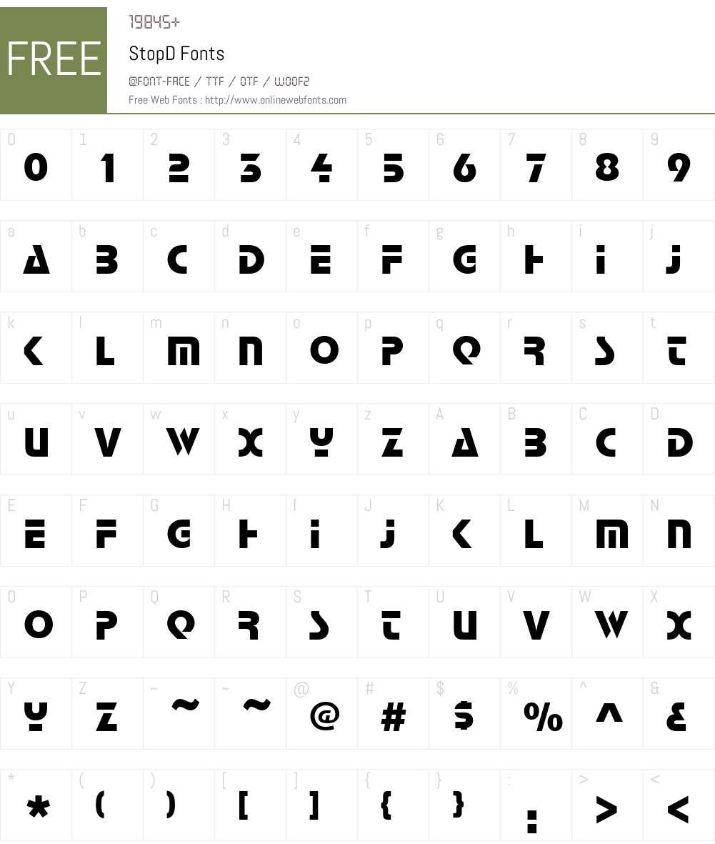 StopD Font Screenshots