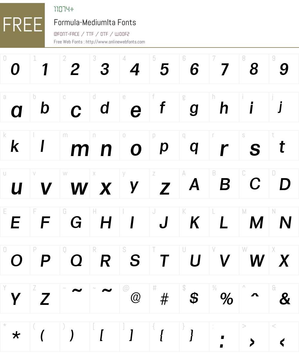 Formula-MediumIta Font Screenshots
