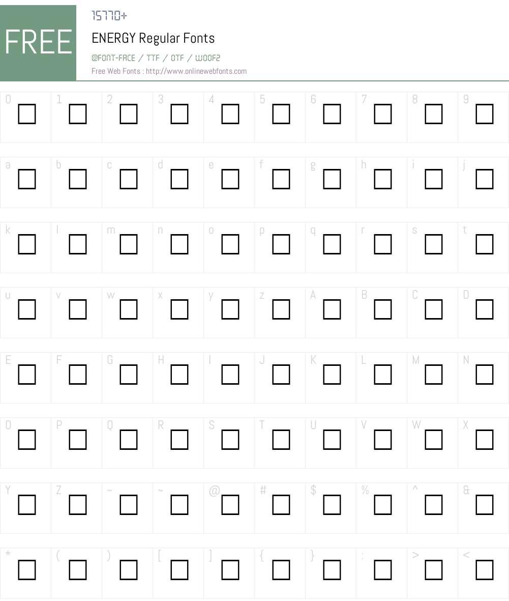ENERGY Font Screenshots