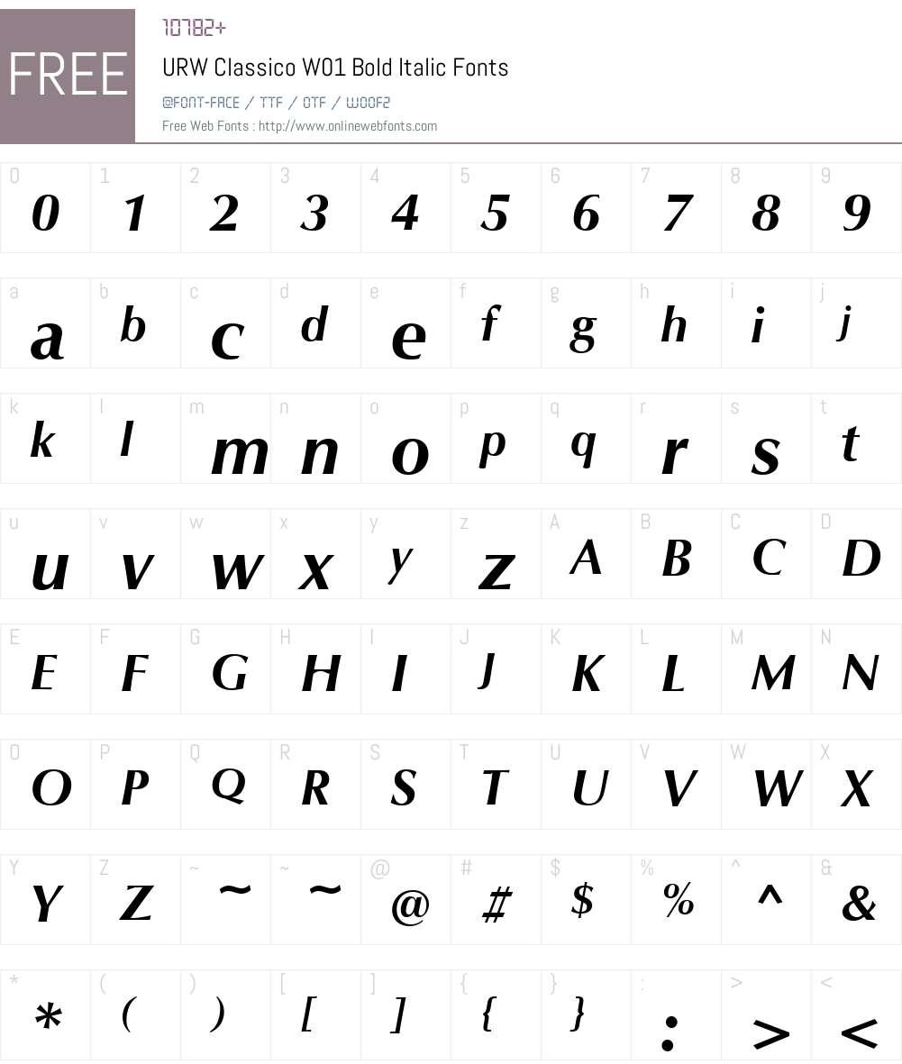 URWClassicoW01-BoldItalic Font Screenshots