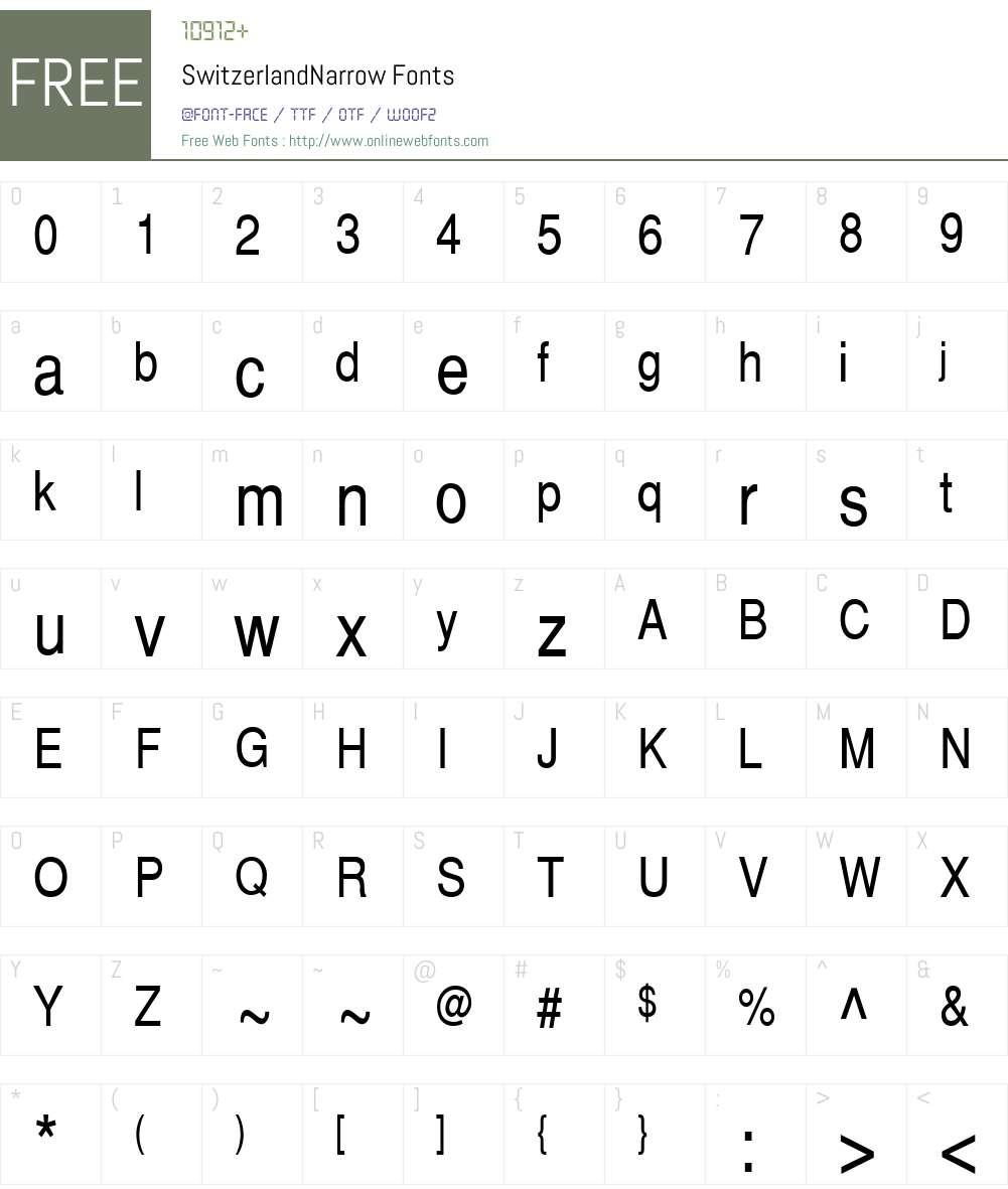 SwitzerlandNarrow Font Screenshots