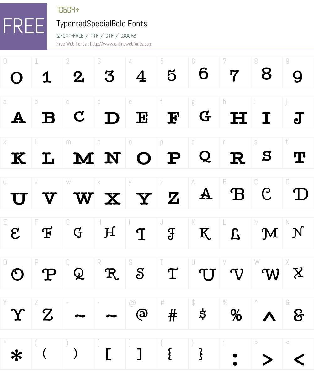 TypenradSpecialBold Font Screenshots