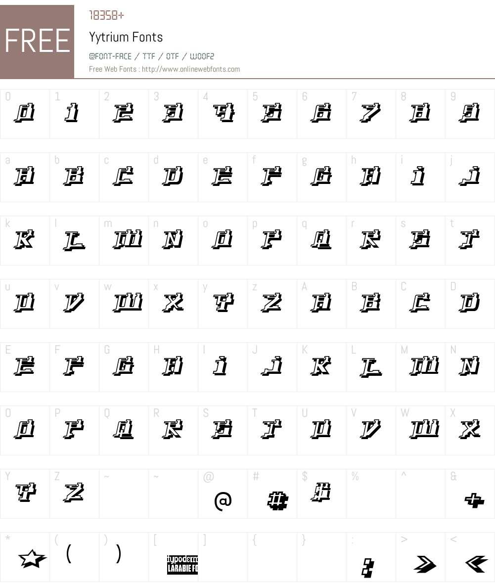 Yytrium Font Screenshots