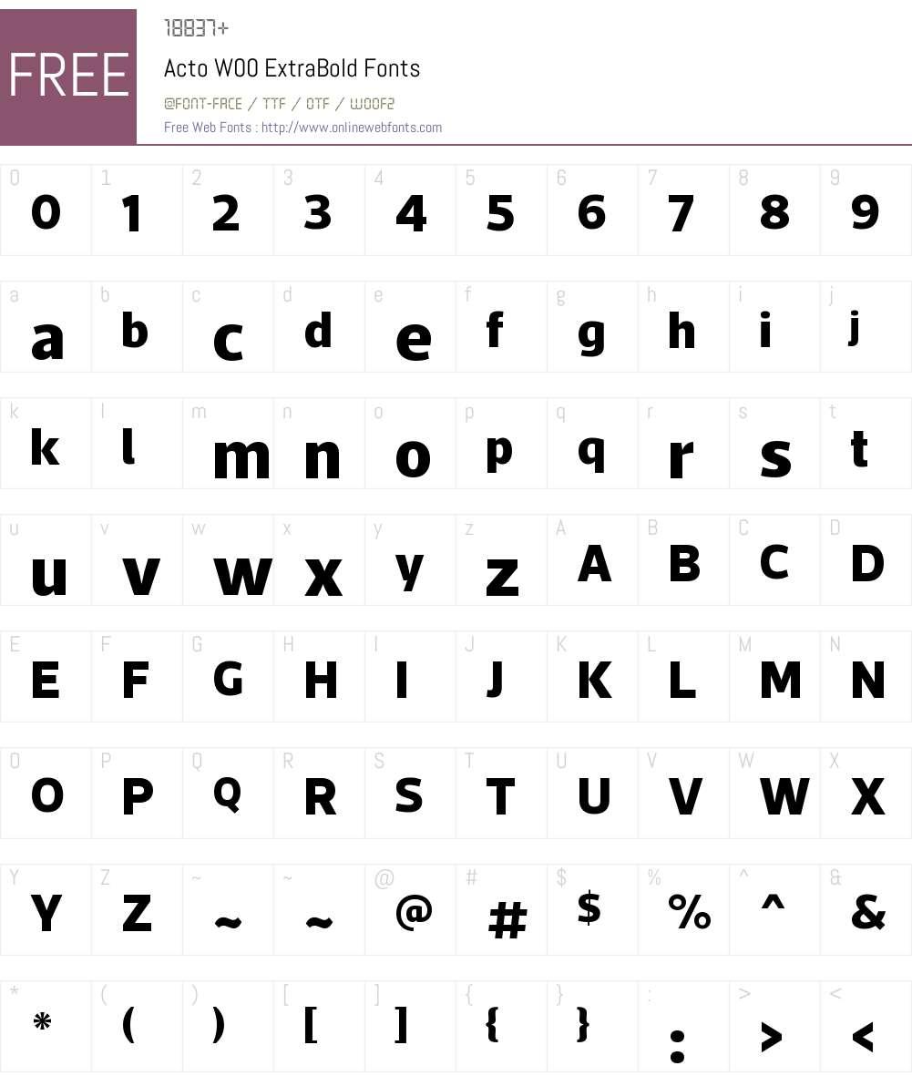 ActoW00-ExtraBold Font Screenshots