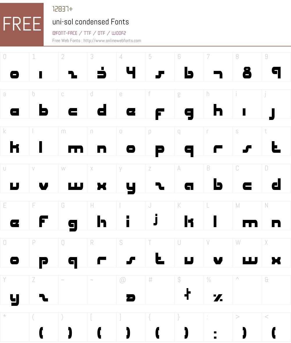 uni-sol condensed Font Screenshots