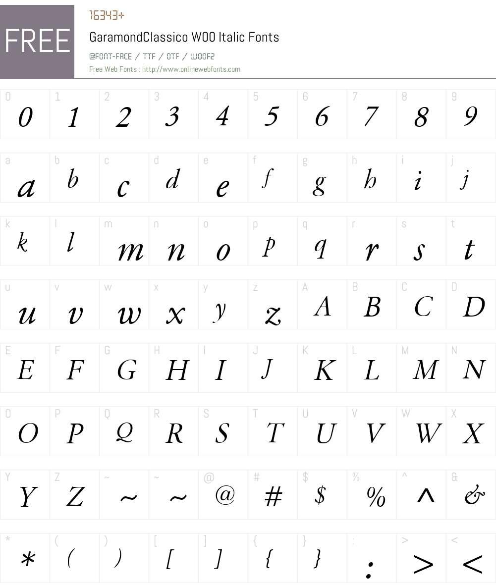 GaramondClassicoW00-Italic Font Screenshots