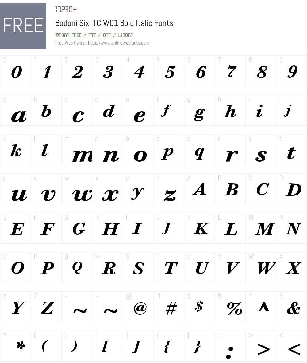 BodoniSixITCW01-BoldItalic Font Screenshots