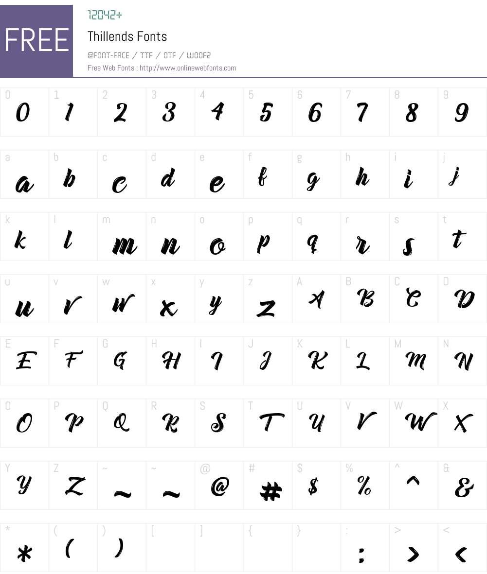 Thillends Font Screenshots