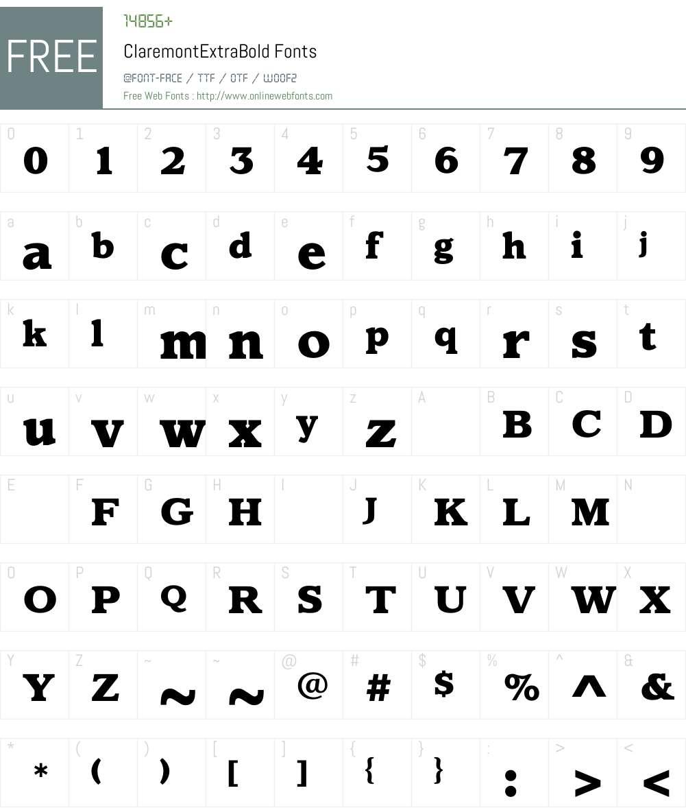 ClaremontExtraBold Font Screenshots
